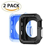 (2 Pack) RB Tech Rugged Armor Apple Watch Case with Resilient Shock Absorption for 42mm Apple Watch Series 3 / Series 2 / 1 / Original (2015) / Nike+ Sport Edition - Black & Blue