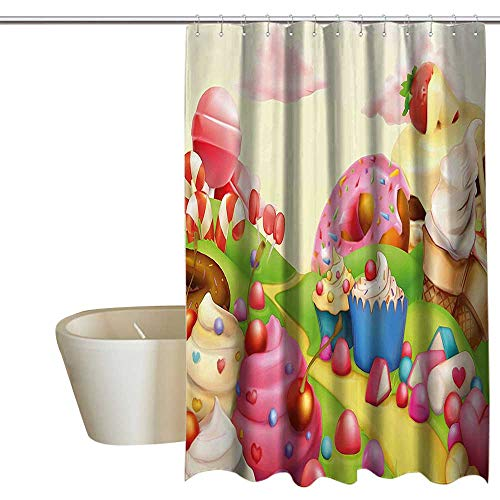 Suchashome Pink Decor Punch-Free Shower Curtain Food Theme Sweet Landscape of Candies Cupcakes Lollipop and Ice Cream Print Waterproof/Water-Repellent & Antibacterial 72