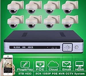 GOWE 8CH NVR POE CCTV System 3TB HDD P2P 1080P HD Vandalproof Dome IR Night Vison Security Surveillance Camera Kit