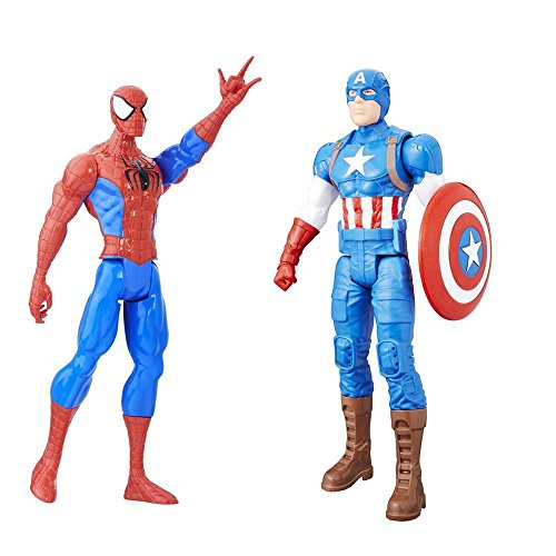 Ben Reilly Spider Man Costumes (2 LOT Bundle Marvel Captain America Figure and Spider-Man Titan Hero Figure 12