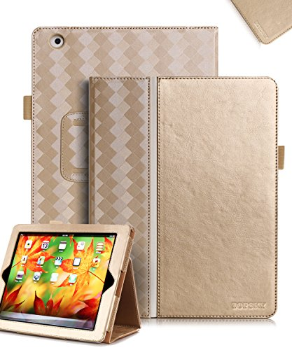 TOPSKY iPad 2 Case,iPad 3 Case,iPad 4 Case,[Golden Age Series] Premium PU Leather Case Smart Auto Wake/Sleep Cover with Velcro Hand Strap, Card Slots Case for iPad 2/3/4,with Stand Feature,Gold