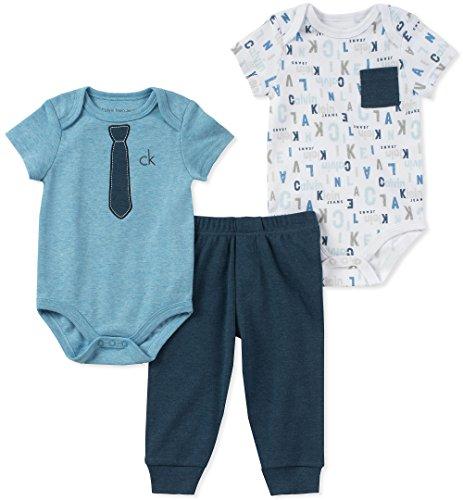 Set Creeper 1 (Calvin Klein Baby Boys 3 Pieces Creeper Pant Set, Blue/White 0-3 Months)