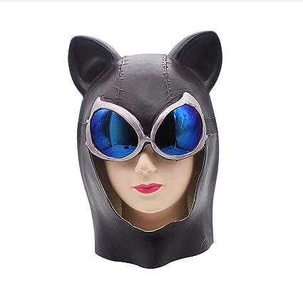 Littlefairy Máscara Halloween,Gafas Azul Gato Negro Gato Demonio látex máscara