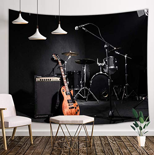 (Music Tapestry Wall Hanging, Musical Instruments Guitar with Drum in Black Wall Tapestry Art for Home Decorations College Dorm Decor Living Room Bedroom Bedspread, 80X60in)