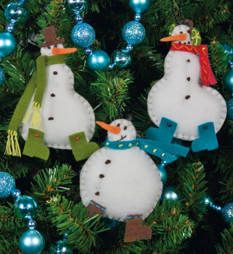 Simple Snowmen Ornaments Felt Applique Kit-3x4 Set Of 3