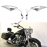 Chrome Motorcycle Blade Rear View Mirrors for Harley Cruiser Bobber Chopper (Chrome-Harley)