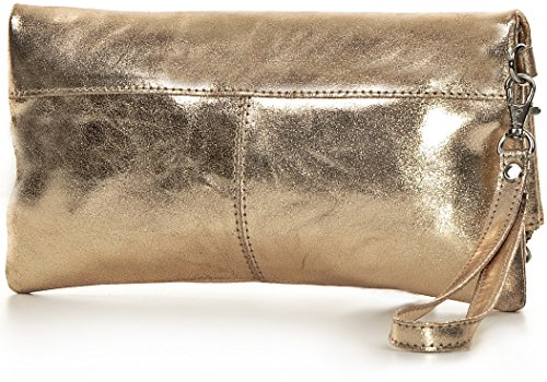 Clutches Clutch Partybags Bag D W Leather Metallic Handbags Trend x CNTMP Women's Lightgold x Clutchbags Bags 25x13x2 5cm H ESBttw