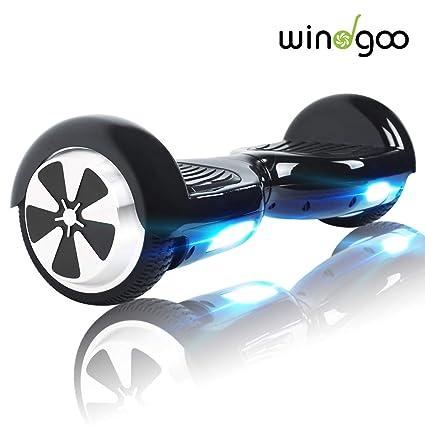 Windgoo N1 Overboard Hoverboard, 6.5 Pulgadas 250W 2WD Glyboard, Actualiza con Luz LED, Regalo para Niño Adulto