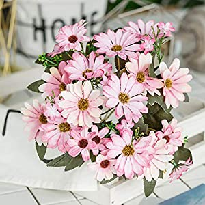 ywbtuechars Handmade Artificial Flower Fake Daisy Gerbera Artificial Flower Bud Cloth Flower Small Daisy Flower Home Living Room Table Vase Decoration Flower 1Pc 9 Branches 8