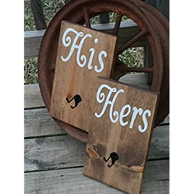 His and Hers Bathroom Towel Robe Hooks - Wood Wooden Sign - Stained Rustic Two Hook Hanger - Bath Room Shower - Wedding Gift - Bridal Shower