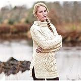 Carraig Donn Ladies 100% Merino Wool Vented Roll Neck Jumper, Natural Colour