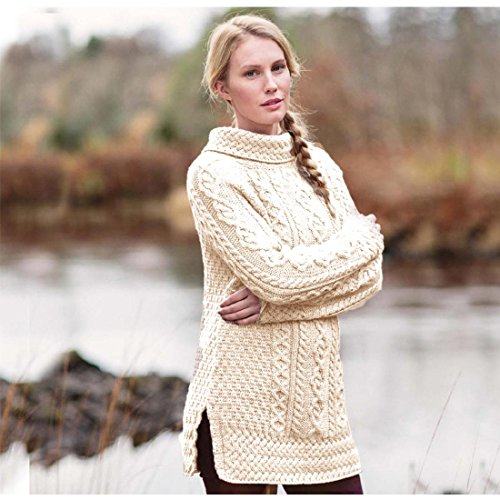 Sweater Cable Cashmere (Carraig Donn Ladies 100% Merino Wool Vented Roll Neck Jumper, Natural Colour)