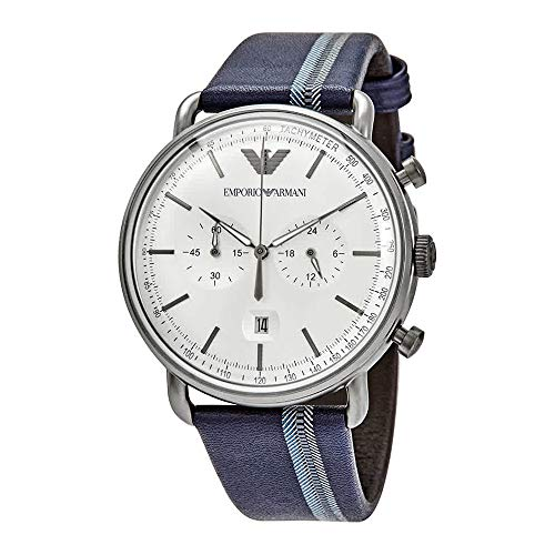 (Armani Silver Sunray Dial Men's Chronograph Leather Watch AR11202)