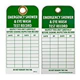 NMC RPT37G Accident Prevention Tag with Grommet, ''EMERGENCY SHOWER AND EYE WASH TEST RECORD'', 3'' Width x 6'' Height, Unrippable Vinyl, Green on White (Pack of 25)