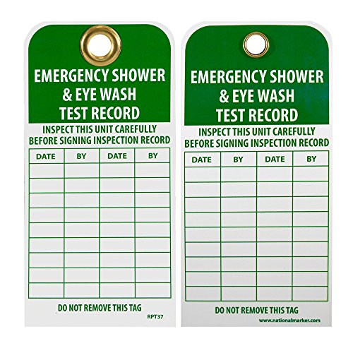 NMC RPT37G Accident Prevention Tag with Grommet, ''EMERGENCY SHOWER AND EYE WASH TEST RECORD'', 3'' Width x 6'' Height, Unrippable Vinyl, Green on White (Pack of 25) by NMC