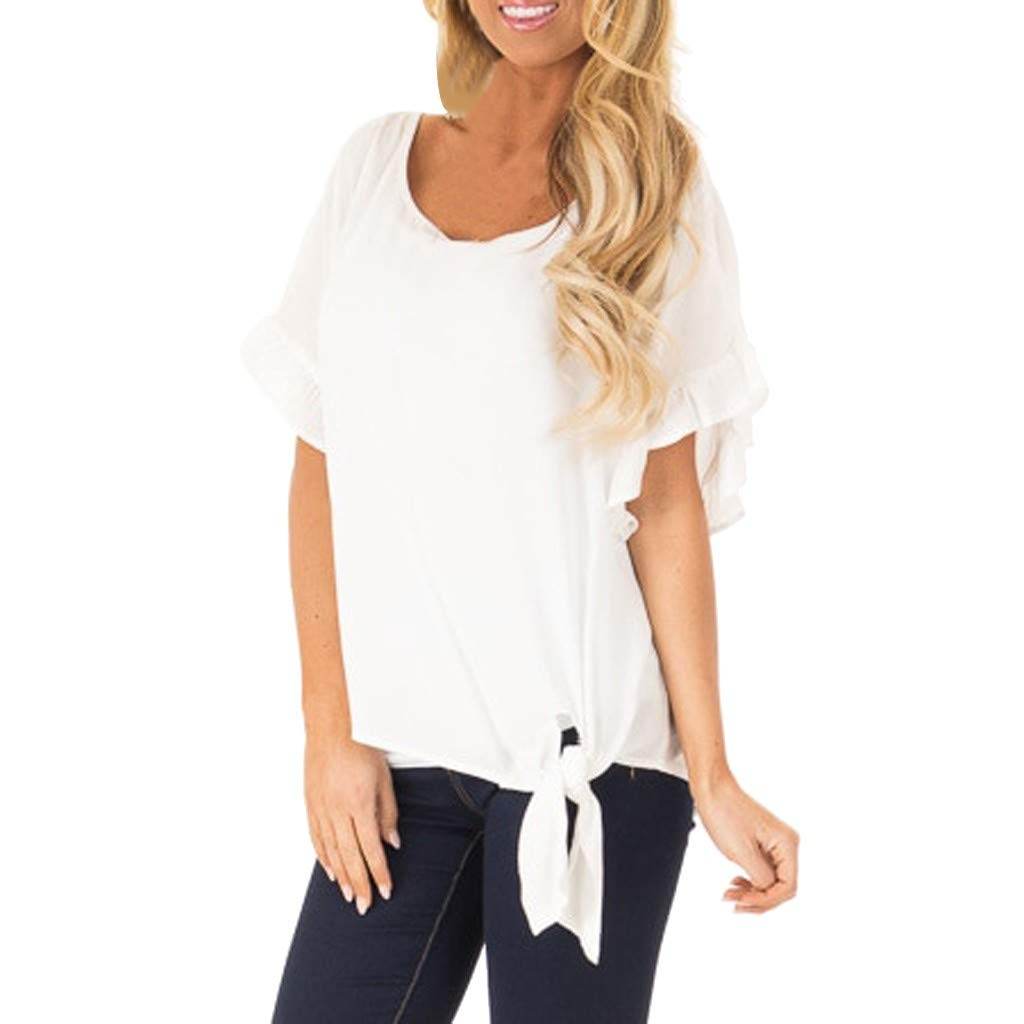 Hot! Womens Blouses Deals Ladies Flounce Sleeve O-Neck Lace up Casual T-Shirt Top White
