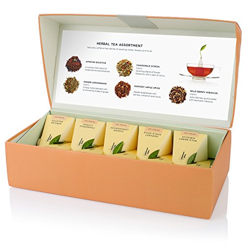 Tea Forté Petite Presentation Box Sampler with 10 Handcrafted Pyramid Tea Infusers - Herbal Tea - Uk Solstice