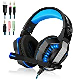 [2017 Newly Updated Gaming Headset] MFEEL GM-2 Computer Over Ear Stereo Heaphones With Microphone Noise Isolating Volume Control LED Light For PC & MAC Xbox One, PS4,Mobile Phones (BLACK+BLUE) (BLACK)
