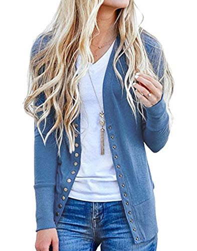 Blue Ribbed Sweater - Hisweet Women's Cardigans Long Sleeve Button Down Knitting Ribbed Sweater Blue L