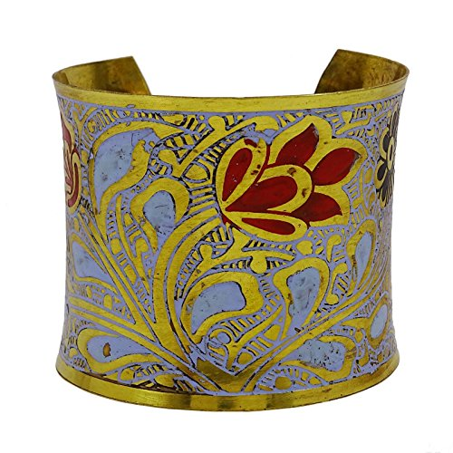 (Banithani Brass Metal Adjustable Floral Bracelet Goldtone Enamel Jewelry Gift For Women)