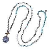 Kelitch Jewelry Handknoted Buddha Beads Necklace Long Strand Chain for Meditation, Prayer