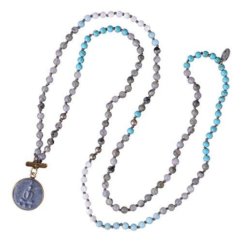 (KELITCH Buddha Strand Necklace Long Beaded Sakyamuni Medal Pendant Necklace for Lucky)