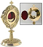 Monstrance with Removable Luna Brass/24kt Gold Plate 5 3/4 x 11'' H