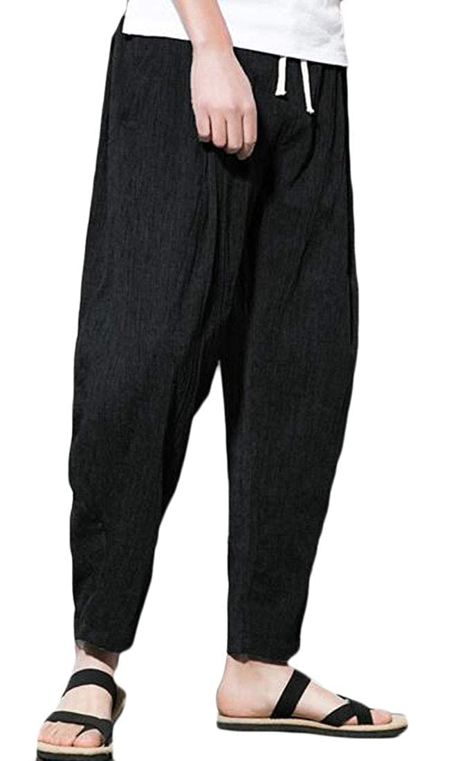 Joe Wenko Men Harem Trousers Big Tall Linen Drawstring Ankle Casual Pants