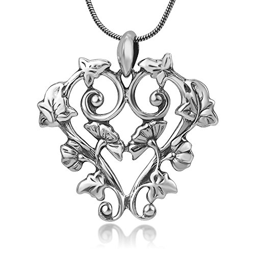 (Chuvora Sterling Silver Open Detailed Filigree Flowers Vine Leaves Heart Vintage Pendant Necklace 18