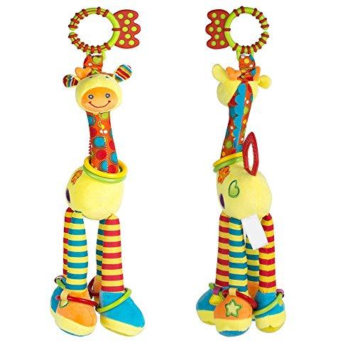 vinmax Plush Giraffe Animal,Kids Hanging Toy for Crib with Rattle Ring, Teethers Handbells Rattles Baby Kids Bed Bells Stroller Giraffe Hanging Plush Toys for Developmental Interactive