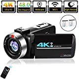 Video Camera 4K Camcorder for Live Streaming Webcam Video Recorder KOMERY 4K Digital WiFi Camera 48MP 16X Digital Zoom IR Night Version 3.0'' Touch Screen Ultra HD Camera, 2 Rechargeable Batteries