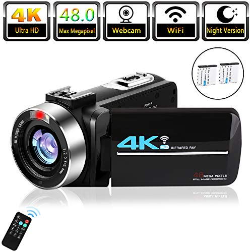 "Video Camera 4K Camcorder for Live Streaming Webcam Video Recorder KOMERY 4K Digital WiFi Camera 48MP 16X Digital Zoom IR Night Version 3.0"" Touch Screen Ultra HD Camera, 2 Rechargeable Batteries"
