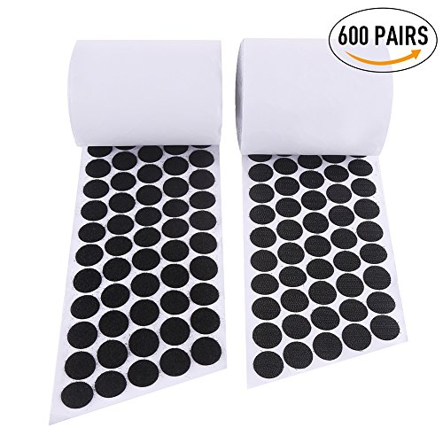 VEYLIN 1200 PCS (600 PAIRS) Sticky Dots, Black Sticky Back Coins Hook & Loop 20mm Diameter