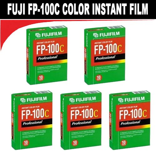 FujiFilm Fuji FP-100C Instant Color 10 Exposure - 5 Pack (Fuji 100c Polaroid Film)
