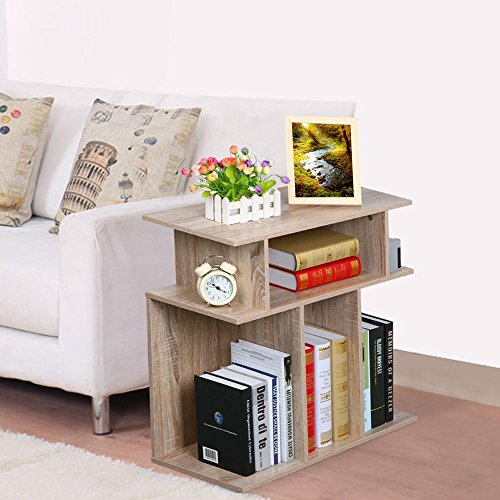 go2buy Wood End Table Side Sofa Console, Storage Stand, Accent End Table in Reclaimed Vintage Look, Oak