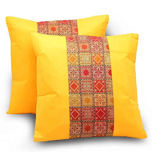 Rastogi Handicrafts Zari Brocade Pretty Accent Home Bad Sofa Throw Pillow Cushion Cover one pair 16