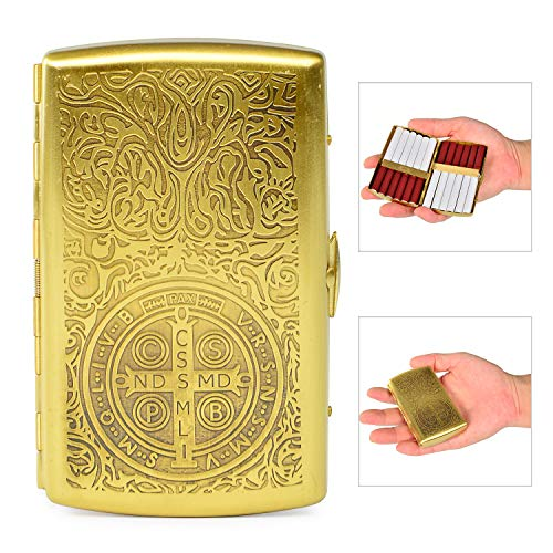 (Retro Pure Copper Metal Cigarette Case Ehonestbuy Carved Constantine Pattern Double Sided Spring Clip Open Pocket Holder for 12 Cigarettes)