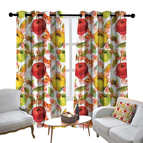 Modern Farmhouse Country Curtains Apple,Watercolor Arrangement of Fruits with Leaves and Butterflies on Dotted Background,Multicolor,Design Drapes 2 Panels Bedroom Kitchen Curtains 100
