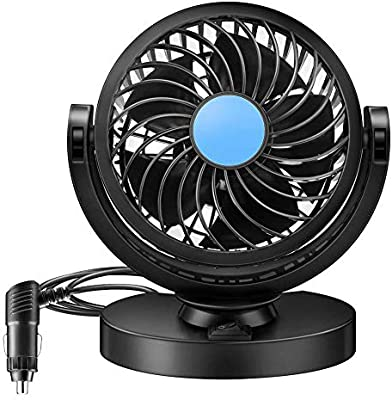 Queta Ventilador del Vehículo, 12 V con 360 ° Giratorio Ajustable ...