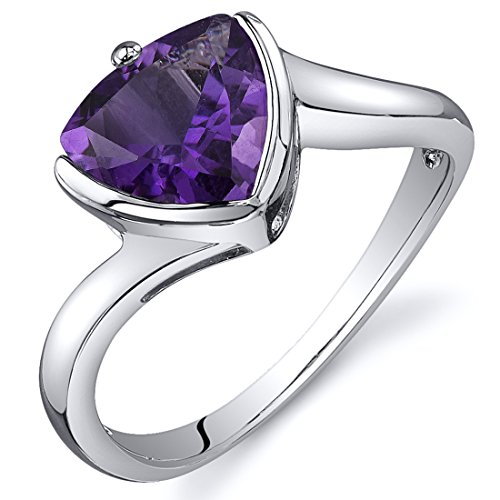 Amethyst Solitaire Ring Sterling Silver Rhodium Nickel Finish Trillion Cut 1.50 Carats Size 9