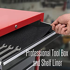 "Reizen Tech Heavy Duty Tool Box Liner - 18""x24 Feet, Durable, Slip Resistant to Keep Garage Shelf, Tool Chest, Workbench Drawer, Cabinet, and Roller Tray Organized & Tools Protected, Thick 3mm"