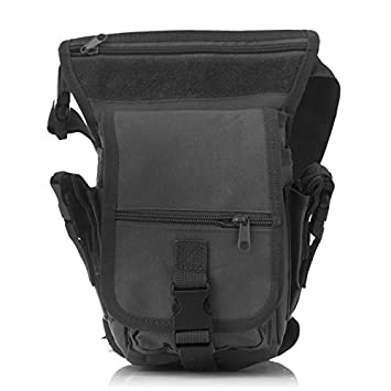 Tactical Military Molle Motorcycle Thigh Pouch Bag Drop Leg Tool Pouch Bag BK