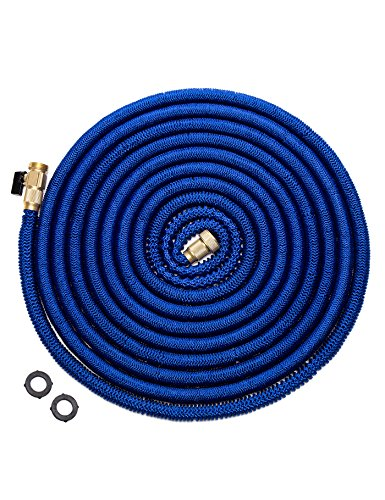 WHOBUY Newest 25' Expanding Hose, Strongest Expandable Garden Hose on the Planet. Double Latex Core, Extra Strength Fabric,Blue
