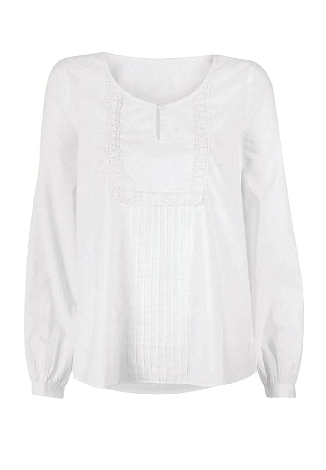 Edwardian Style Blouses Ellos Womens Plus Size Cotton Peasant Blouse $34.68 AT vintagedancer.com