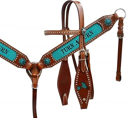 "Showman Embroidered /"" Turn n Burn/"" fringe Headstall /& Breast Collar Set TACK!"