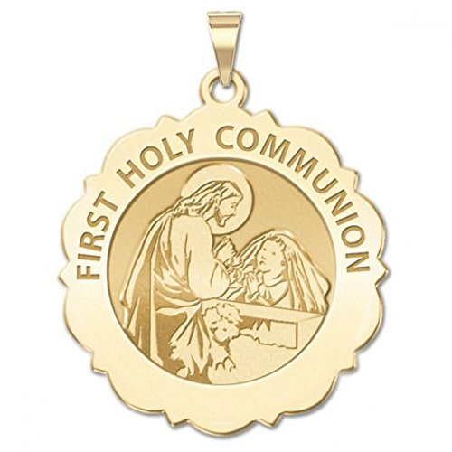 First Holy Communion Religious Medal Scalloped Round (Girl) 3/4 Inch Solid 14K Yellow ()