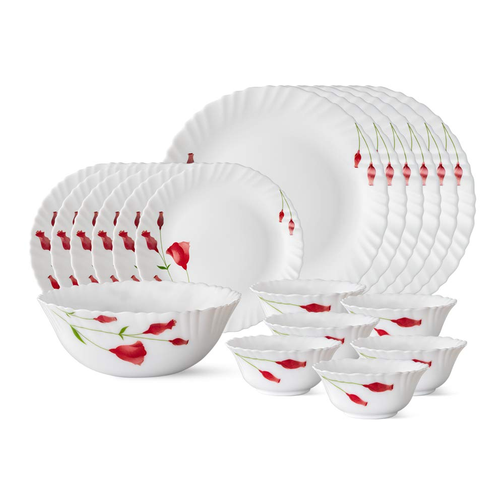 Larah by Borosil Diana Opalware Dinner Set, 19-Pieces, White