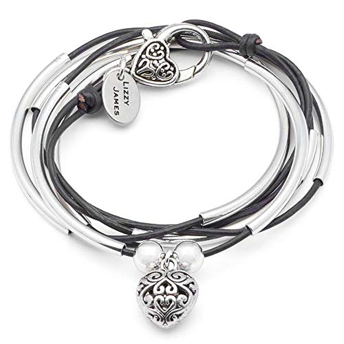 (Lizzy James Girlfriend Silver Charm Bracelet Necklace w Puffed Heart Charm in Natural Black Leather (Large))