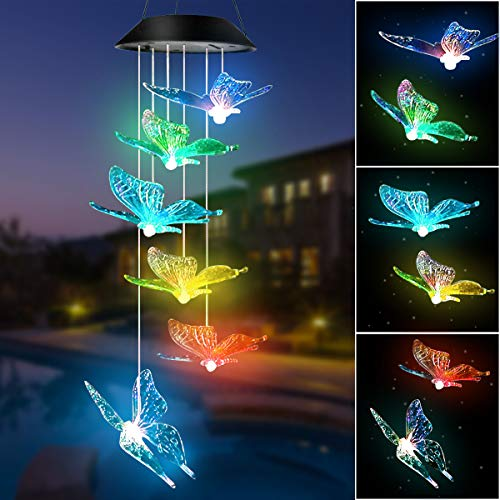 - FlyCloud Wind Chime, Solar Hummingbird Butterfly Wind Chime Mobile Wind Chimes Outdoor, Color Changing LED Hanging Lamp Wind Chimes for Outdoor Gardening Lighting Decoration Home, Gifts for Mom