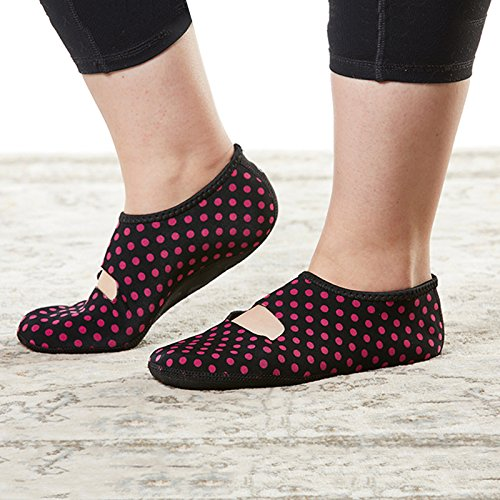 Scarpe Large Black Extra Da Pink Mary Tooth Dot Indoor Donna amp; Pantofola Nufoot Jane Polka Hounds fqtw6Z11